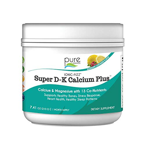 Pure Essence Ionic Super D-K Calcium Plus by Pure Essence - With Extra Magnesium, Vitamin D3, Vitamin K2 For Strong Bones and Stress Relief - Raspberry Lemonade - 7.41oz