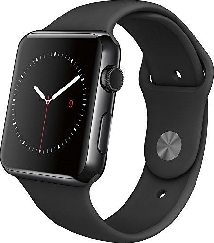 Apple - Apple Watch 42mm Space Black Stainless Steel Case - Black Sport Band