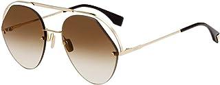فيندي FF 0326/S 09Q HA نظارة شمسية افييتور بني معدني عدسات بلون بني متدرج، 57-21-140