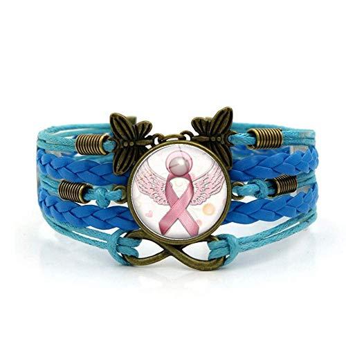 Geweven armband, Blauw touw Dames Pink Ribbon Art, Time Edelsteen Armband Meerlaags Handgeweven Glas Combinatie Sieraden Dames Modieus Europese en Amerikaanse stijl Sieraden Sieraden