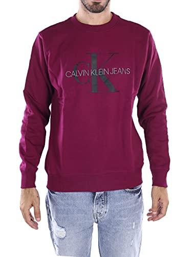 Calvin Klein - bluza męska - czarna bluza męska - męska bluza męska - CK topy męskie - męski monogram Reg sweter z okrągłym dekoltem, Ciemny goździk/ck czarny, XL
