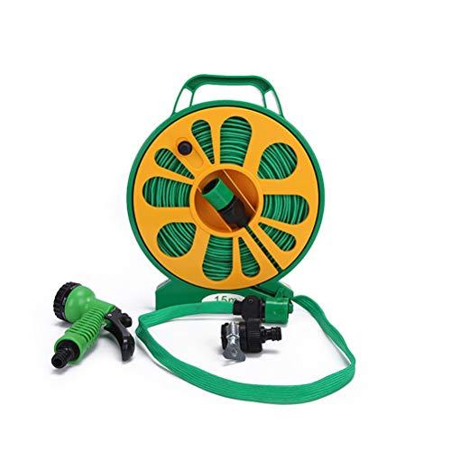 AIJIANG - Kit de manguera de jardín con boquilla de pulverización, carrete de manguera de agua para jardín y plantación al aire libre