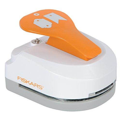Fiskars Perforadora de etiquetas 3 en 1- Sencilla, para etiquetas (5 x 7.5 cm), con 20 ojetes, Acero de calidad/Plástico, Blanco/Naranja, 1016266