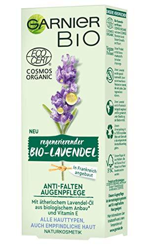 Garnier Bio Regenerierender Lavendel Anti-Falten Augenpflege, vegane Formel, mit Vitamin E zum Schutz vor freien Radikalen, Naturkosmetik, 15 ml