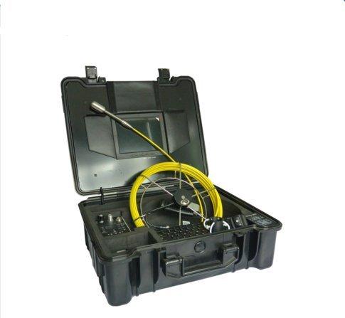 mabelstar Pantalla LCD de 8Pulgadas 15pcs LED luz 29mm Self nivelación Imagen Impermeable cámara de inspección para Venta de alcantarillado con 20m Varilla de Empuje Cable