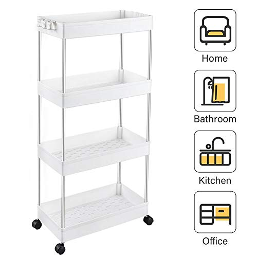 SPACEKEEPER Storage Cart 4-Tier Slide Out Rolling Utility Cart Storage Organizer Shelf Rack, Mobile Shelving with 4 Storage Baskets for Kitchen Living Room Bathroom Laundry Room & Dressers