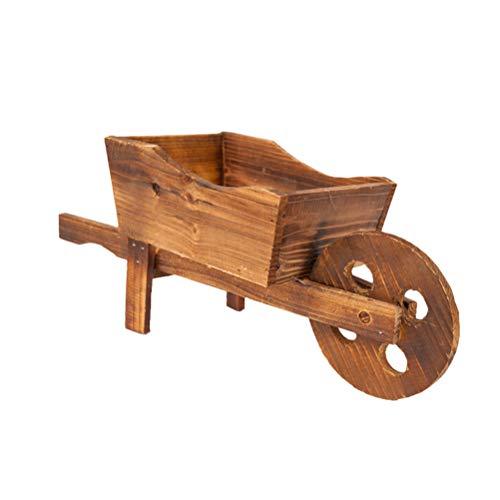 Yardwe Chariot en bois pour jardinière Motif floral