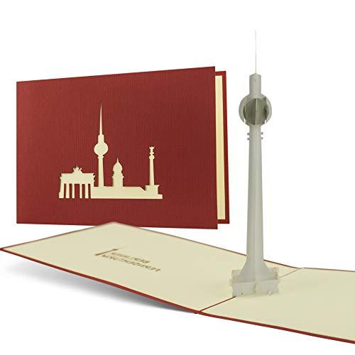 Gutschein für Reise nach Berlin verschenken, Berlin Ausflug, Fernsehturm, Souvenir, schöne Pop-Up Karte A14