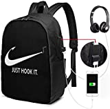 Just Hook It Funny Fishing Laptop Backpack 17 inch with USB Charging Port, for Women Men Fashion School Bag