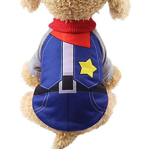 Yowablo Hund Kostüm Winter Warm Hund Shirt Kleidung Hund Hoodies Sweatshirts für Kleine Hunde Warmer Fleece-Welpe (S,Dunkelblau)