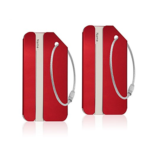 Aluminum Luggage Tag for Luggage Baggage Travel Identifier by CPACC (Red 2 Pcs)