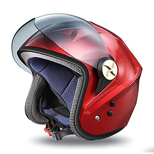 El Casco Motocicleta DOT/ECE con Visera Solar es Adecuado para Ciclomotores Scooters Crucero Pasando Pruebas Choque Cumplir la Seguridad Vial(52-62cm) A