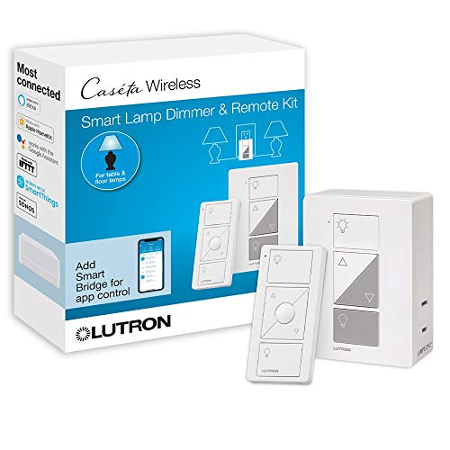 Lutron Caseta Smart Home Plug-in Lamp Dimmer Switch and Pico Remote Kit, Works with Alexa, Apple HomeKit, and The Google Assistant | P-PKG1P-WH | White