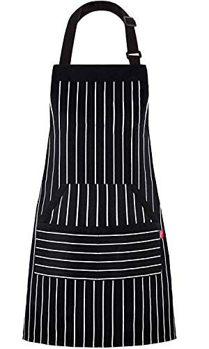 "ALIPOBO Kitchen Cooking Apron for Women and Men, Adjustable Chef Bib Apron with Pockets - 32"" x 28"" - Black/White Pinstripe- 1 Pcs"