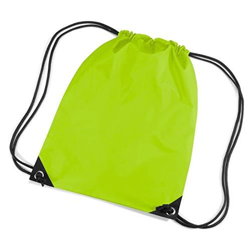 ShirtInStyle, sacca sport, ginnastica, palestra, per scarpe con cordino, Verde (verde lime), 33cm x 45 cm