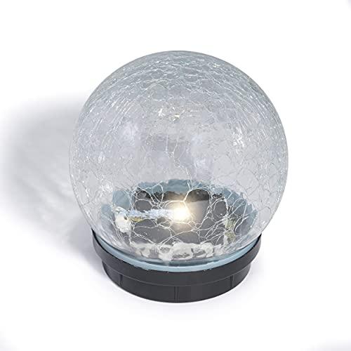 Glas-Solarkugel Kristallzauber 15 cm - angenehm warmweißes Licht mit 3000 K - traumhafte Lichteffekte dank Bruchglasoptik - Solarlampe Garten Solarleuchte, esotec 102433