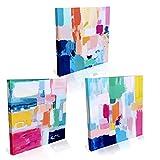 Abstracto Colorido Cuadro en Lienzo 3 Piezas 30x30cm Facil Colgar Decoracion del Hogar Dormitorio Salon Pasillo Cocina Baño