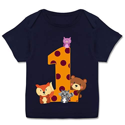 Geburtstag Baby - 1. Geburtstag Waldtiere - 80-86 - Navy Blau - Geburtstag Waldtiere - E110B - Kurzarm Baby-Shirt für Jungen und Mädchen