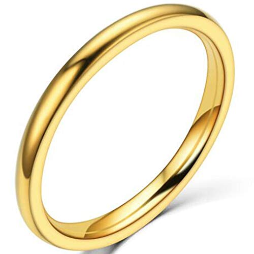 1.5mm Stainless Steel Classical Plain Stackable Wedding Band Ring (Gold, 7)