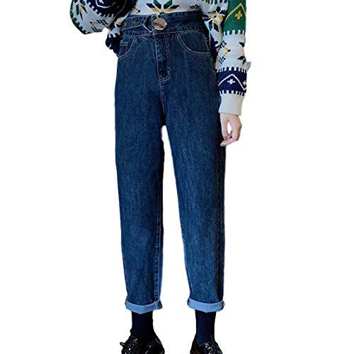Luandge Pantalones Vaqueros Rectos de Talla Grande para Mujer, Cintura Personalizada, Moda Informal, Pantalones de Mezclilla Harem Lavados Retro relajados 4XL