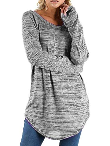 Dawwoti Top de Manga Larga de Las Mujeres Blusas Casuales para Niña Menor Blusas de Cadera