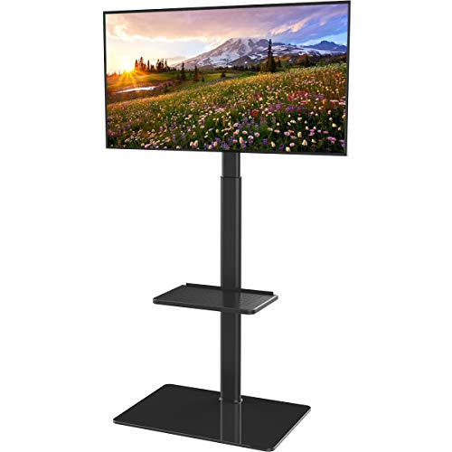 Universal Floor TV Stand with Mount for 19 to 42 inch Flat Screen TV, 100 Degree Swivel,Adjustable Height and Tilt Function, 2 Shelves HT2001B