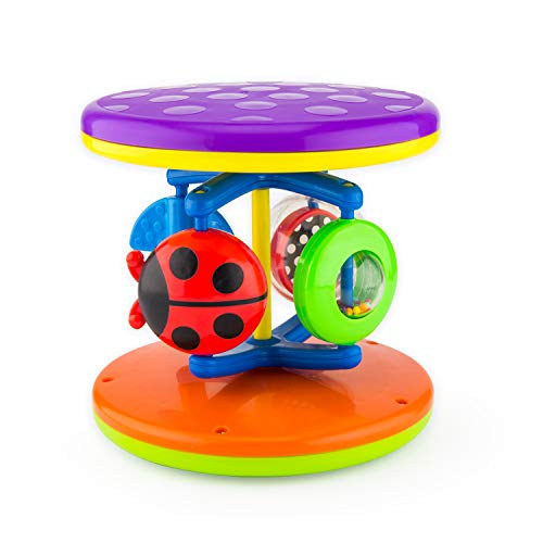 Sassy Fascination Roll Around Early Learning Toy - Promotes STEM Learning - Crawling Toy Rolls and Spins - Ages 6 Months Plus