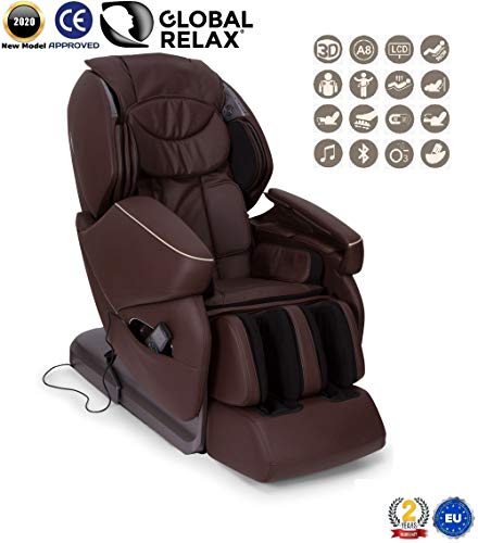 NIRVANA® 3D massagestoel - Bruin (model 2020) - Relax massagestoel voor shiatsu met 9 massageprogramma's - Gravity and Wall