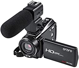 HD Video Camera Camcorder Digital Vlogging Camera Recorder ORDRO Full HD 1080P 24FPS 24MP Night Vision Camcorder Camera with Remote Control and 2 Batteries