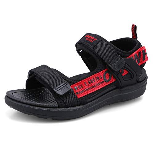 Jungen Sandalen Kind Open Toe Sandale Kinder Sommer 2-Strap Beach Schuhe Schwarz...