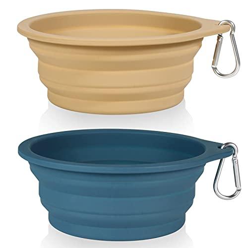 SLSON 2Pack Collapsible Dog Bowl,Integrated Molding Travel Bowl No Plastic Rim Pet Feeding Bowls for Walking Traveling Outdoors,600ML (Navy Blue+Khaki)