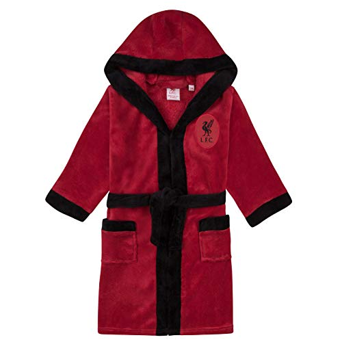 Liverpool FC Official Football Gift Boys Fleece Dressing Gown Robe Red 11-12 Yrs