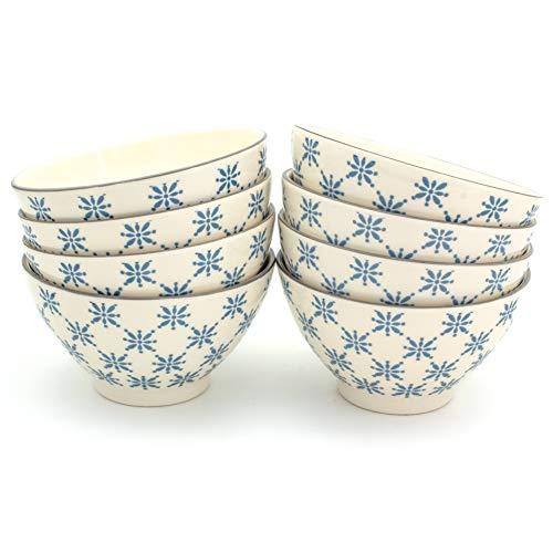 Euro Ceramica Sintra Dining/Pasta Bowls, Set of 8, Blue