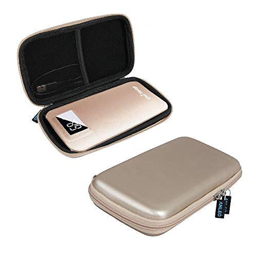 Anleo Hard EVA Travel Case for POWERADD Pilot 4GS 12000mAh / Uni-Yeap 11000mAh External Battery Charger Power Bank Color: Gold