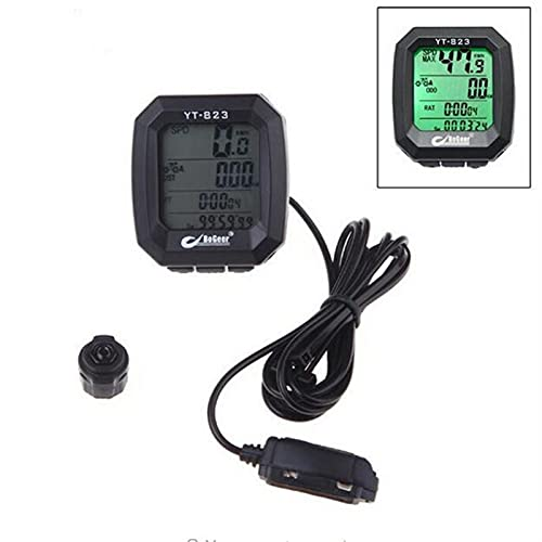 SHAYC Bicycle Accessories Imported Sensors LCD Backlit Bicycle Speedometer Odometer Computer- Black (Color : BLACK)