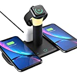 HETIANLY 5-in-1 Wireless Charging Station with Small Desk Lamp, Charger Stand for iWatch Series 6/5/4/3/2, Fast Charging Dock for Samsung iPhone 12/12Pro Max/11/11 Pro Max/XR/Xs/X/8/8P(No AC Adapter)