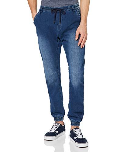 Urban Classics Herren Knitted Denim Jogpants Sporthose, Blau (Blue Washed 799), W34 (Herstellergröße: L)