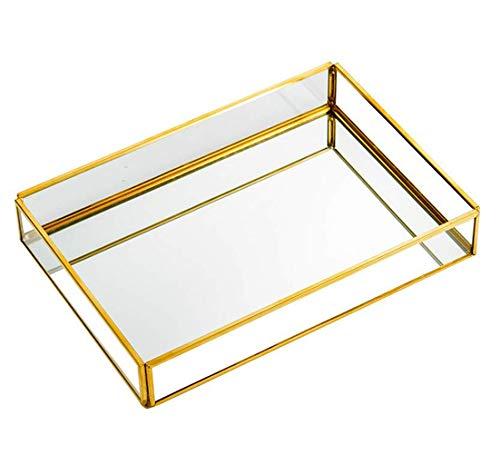 QILICZ Spiegeltablett Dekotablett Spiegel Tablett Glastablett Schmuck/Kosmetik Organizer Tablett Kosmetik Platte Serviergeschirr