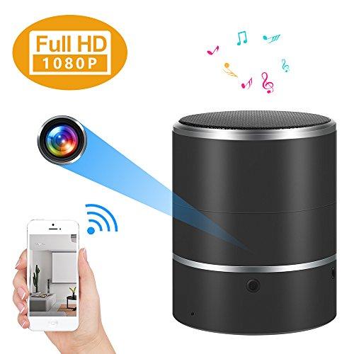Cámara oculta WIFI Altavoz Bluetooth 1080P Cámara espía con lente giratoria de 180 ° y detección de movimiento