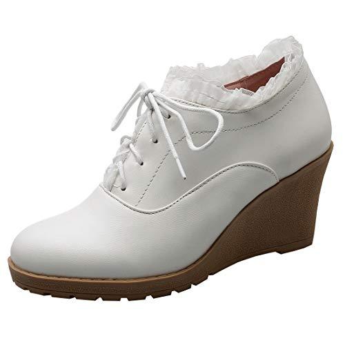 Etebella Damen Keilabsatz High Heels Geschlossen Pumps mit Plateau und Schnürung Spitze Rockabilly Schuhe(Weiß,36)
