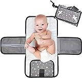 Hahago Tragbare Wickelauflage für Babywindeln Faltbare Wickelunterlage mit Kopfkissen & Abgewischter Netztasche mit Reißverschluss Wasserdichtes Wickelunterlagen Kit für Kleinkinder (Grau)