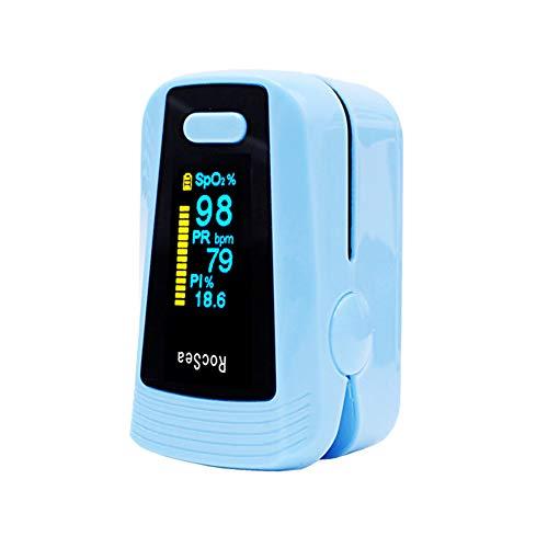 Vingertop Pulsoximeter, Blood Zuurstof/Hartslag Hartslag/Zwakke Perfusie/Slaap Monitoring, Met Lanyard, Geschikt Voor Mensen Die Meer Dan 4 Jaar Oud,Blue