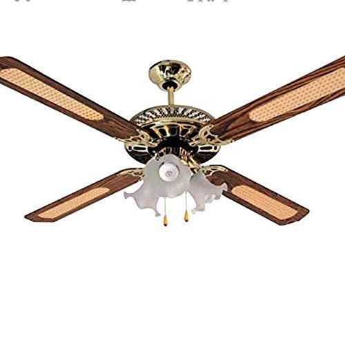 """Suinga Ventilador de Techo 52' Potencia: 45W. Ventilador de Techo Decorativo de 52"""" Color latón Antiguo. 3 Velocidades. 4 Aspas + 3 lámpara de Cristal."""