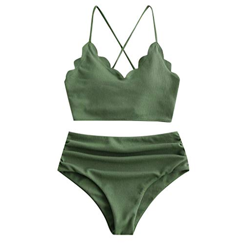 Teen Girls High Waisted Bikini Swimsuits Criss Cross Swim Top with Ruched Plain Bikini Bottoms (Medium, Green)