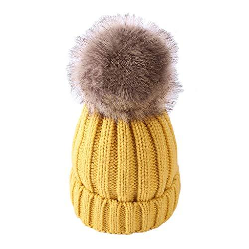 La niña de Sombreros de Punto Sombrero del bebé Lindo del Invierno cálido Sombrero La Bola de Pelo for Chicos, Chicas Grueso del niño Sombrero Gorra de Esquiar (Color : Yellow Khaki, Size : Medium)