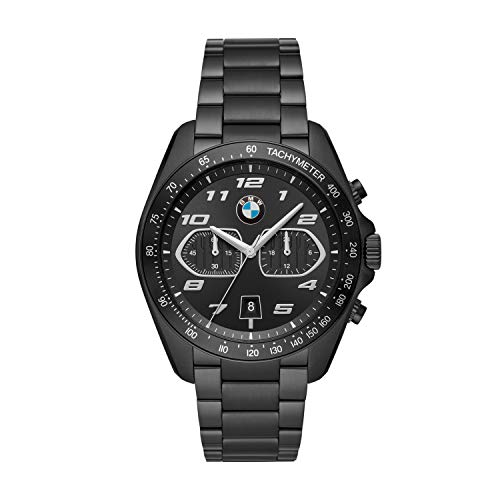BMW BMW8012 - Reloj de cuarzo para hombre con correa de acero inoxidable, color negro, 22 (modelo: BMW8012)