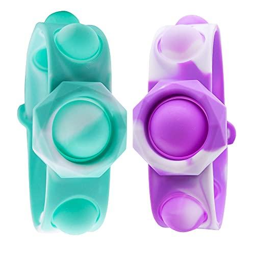 Simple Dimple Fidget Toy 2 Pcs, Portable Simple Dimple Sensory Fidget Bracelet, Stress Relief Hand...