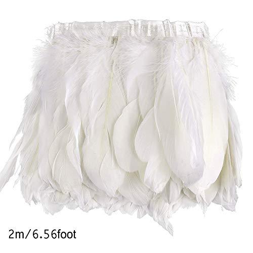 2M Cinturón plumas ganso blanco, Recorte la pluma Recorte la pluma Pluma, Vestido lujo con flecos, Decoración disfraces Halloween
