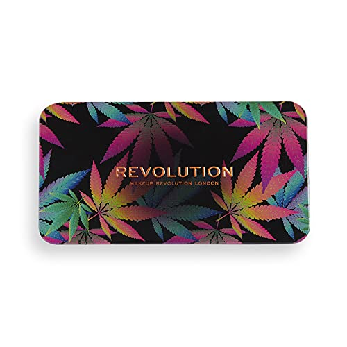 Makeup Revolution Forever Flawless Eyeshadow Palette with Cannabis Sativa, Chilled, Matte & Shimmer Hues, 18 Pigment-Rich Shadows, Vegan & Cruelty-Free, 0.52 Oz