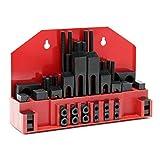 Set elementos de fijación mecánicos 58 piezas para ranura-T 12mm y rosca M10 en estuche almacenaje